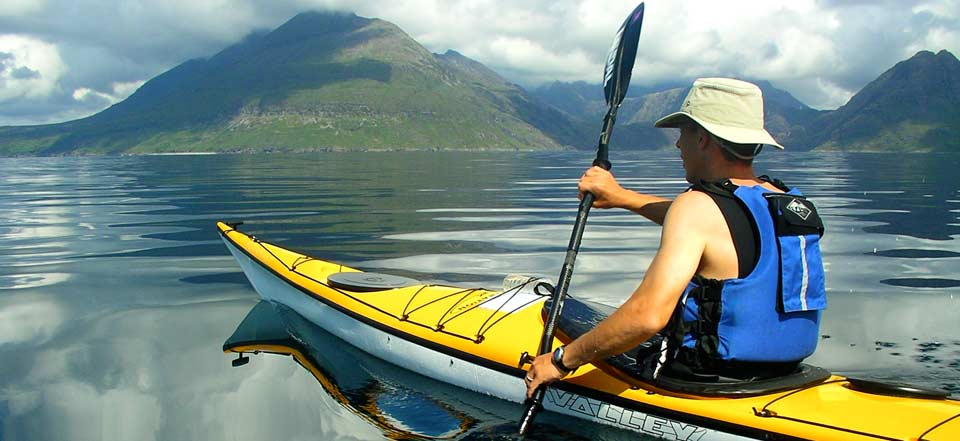 Kayaking amidst the Skye Cuillin Mountains